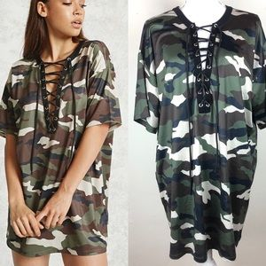 New F21 Forever 21 Jersey Mesh Camo Laceup Dress L